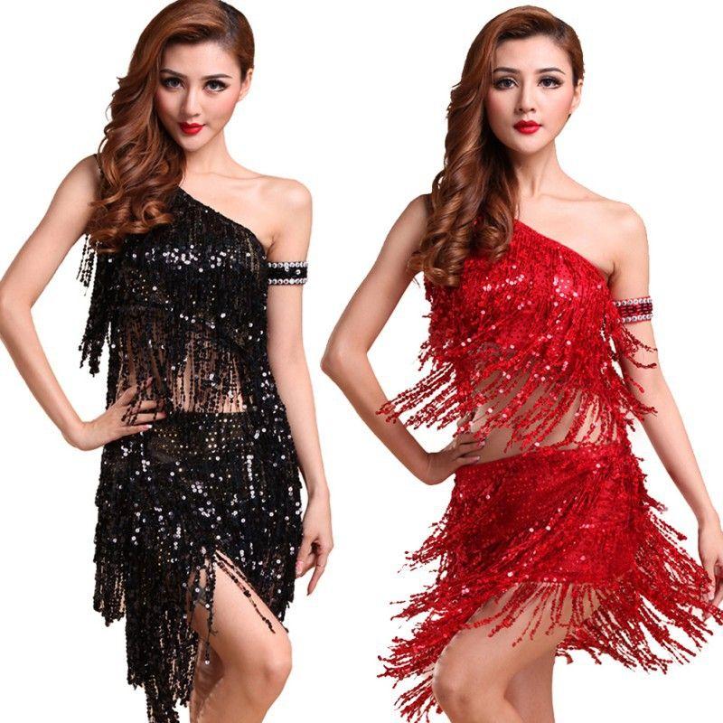 2d7392703 Hot Sale Sexy Women Backless Sequins Tassels Cocktail Clubwear Latin Jazz  Ballet Dance Top Skirt Suit #Affiliate