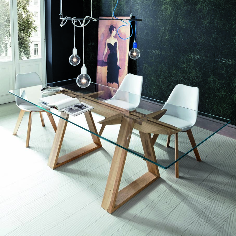 Tokyo Dining Table With Gl Top And Solid Oak Legs