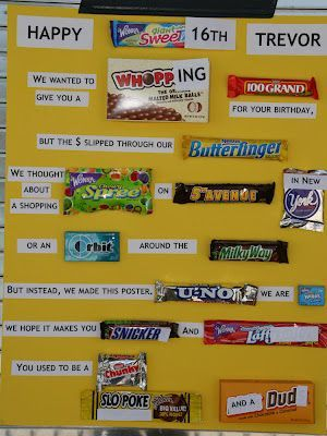 cute poster board birthday candy poster Sons 16th Birthday Bash I