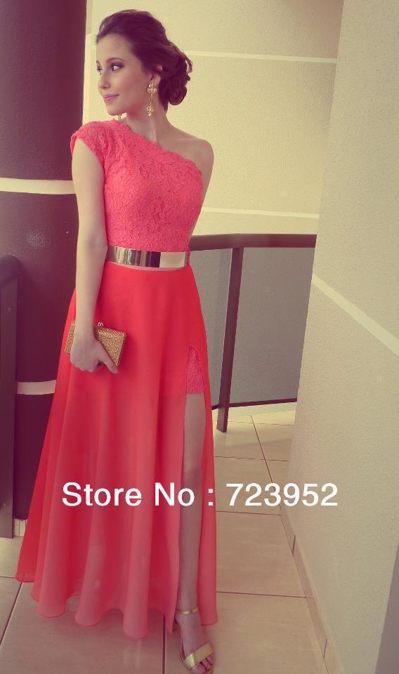 4ff5c96c7 vestidos de color coral vestidos formales en el mejor vendedor de encaje un  hombro ranura lateral cinturón de oro vestidos de fiesta por la noche  fromal ...