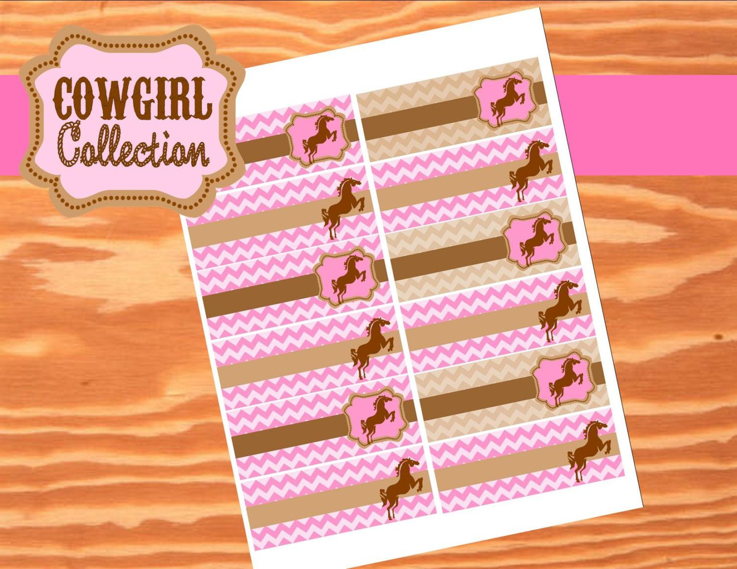 AZ COWGIRL - Straw Flags - Girl Horse Birthday Party - Pink Horse Party - Western - Ranch - Cowboy - Krown Kreations.