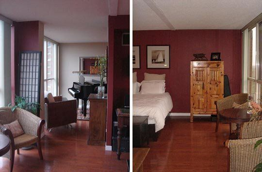 fancy cherry wood floor bedroom