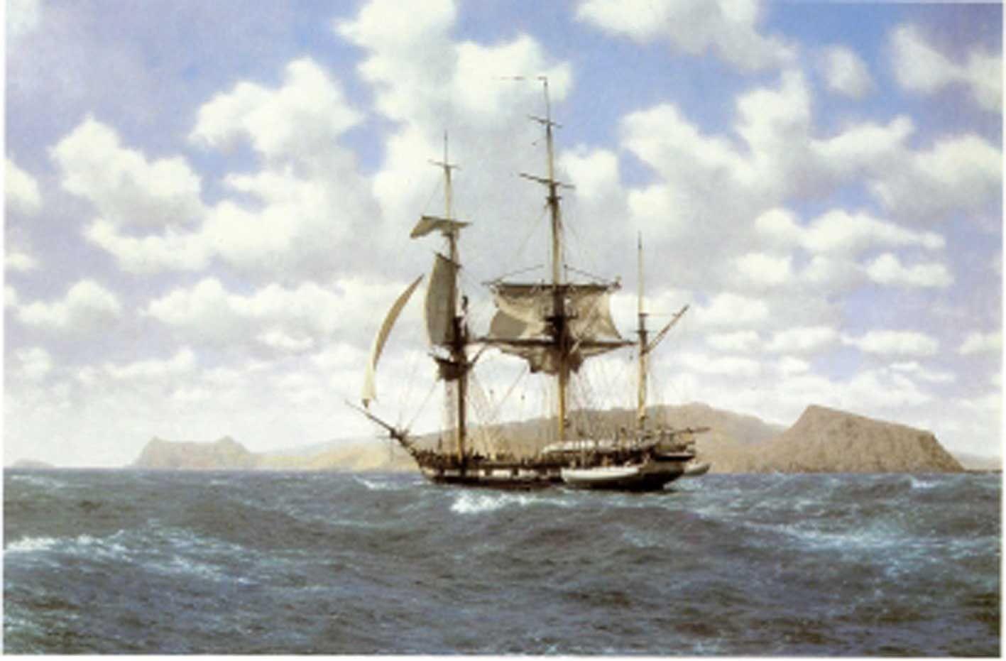 Hms Beagle In The Galapagos 17th October 1835 By John Chancellor