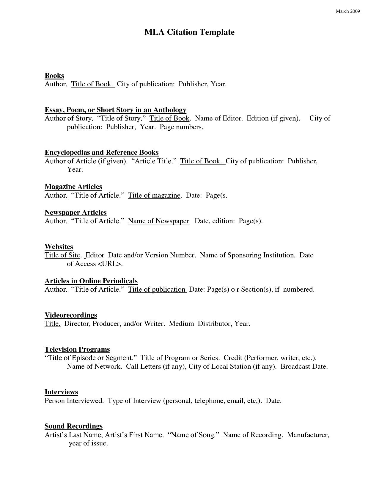 Mla Citation Page Template Mla Format Works Cited Mla Format Essay