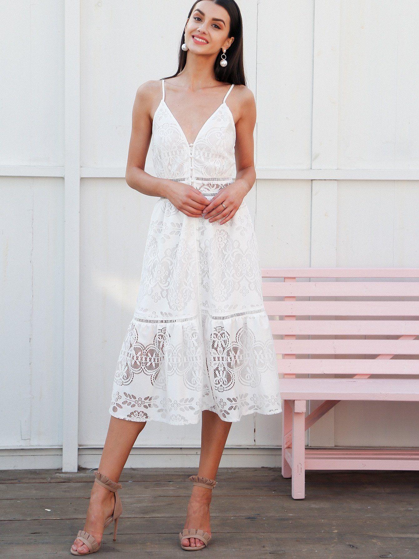 Glamaker Button Front Deep V Neck Lace Slip Dress Lace Slip Dress White Summer Midi Dress Slip Dress [ 1785 x 1340 Pixel ]