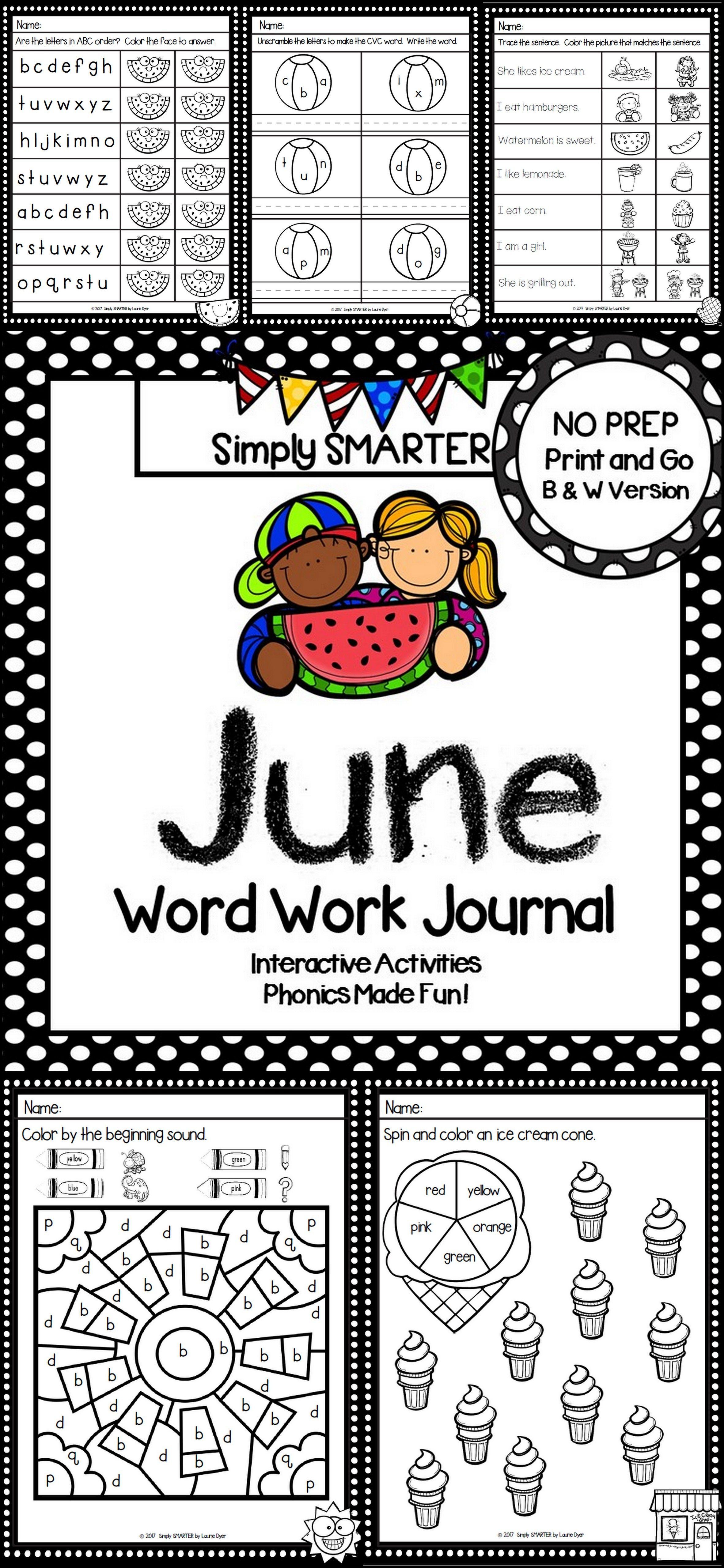 NO PREP June Word Work Journal