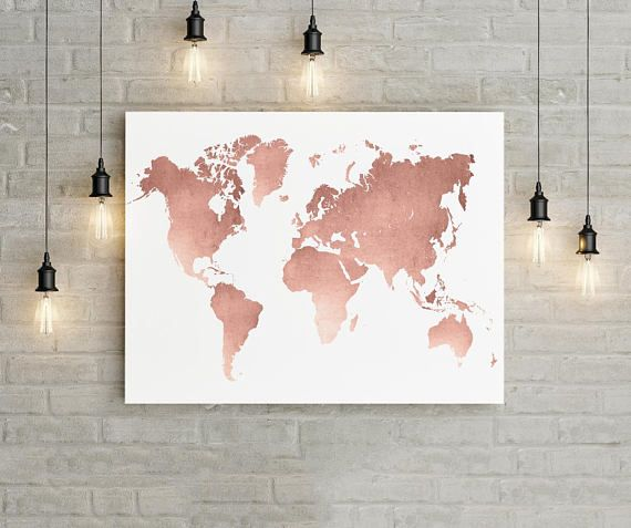 Rose gold world map printable wall art unique watercolor poster for rose gold world map printable wall art unique watercolor poster for your home decor nursery office this listing is for a digital file only no gumiabroncs Gallery