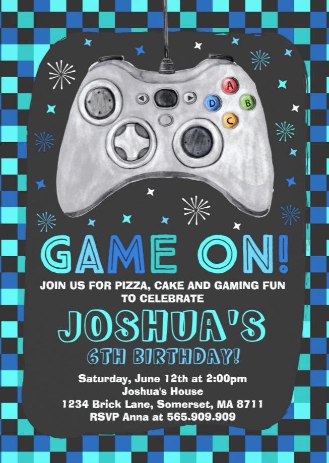 Gaming Birthday Invitation Video Game Birthday Zazzle Com Party Invite Template Video Games Birthday Birthday Invitations