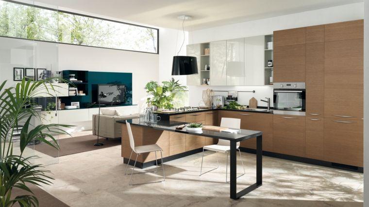 idea per arredare una soluzione open space con cucina ad angolo ...