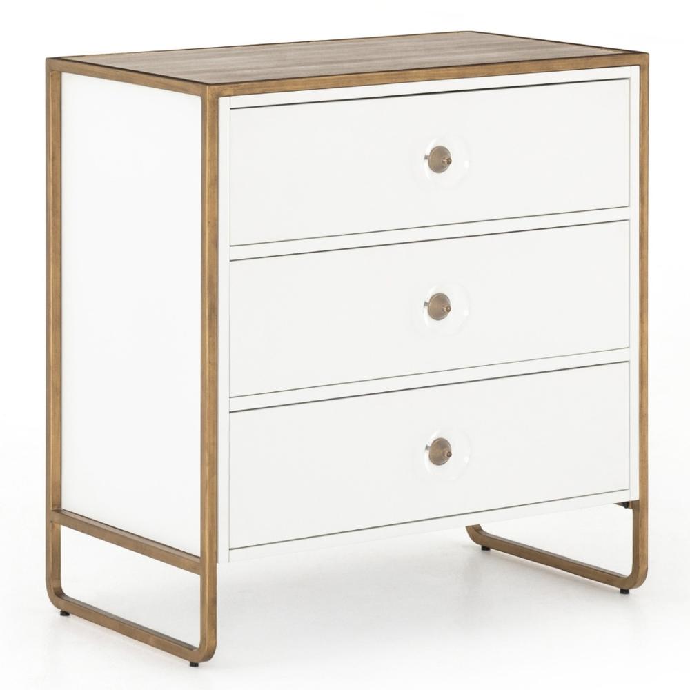 Best Sorella White Lacquer Gold 3 Drawer Small Dresser In 640 x 480