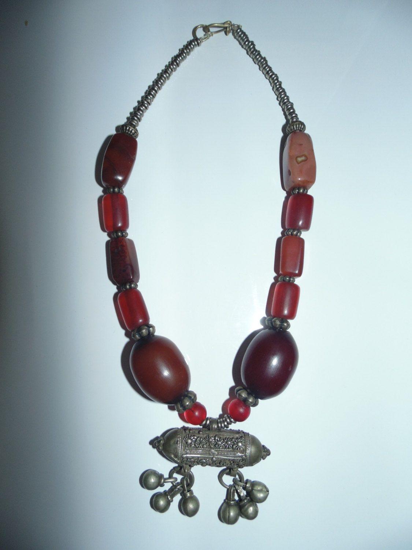 Vtg antique tribal ethnic us handmade necklace amber stone beads
