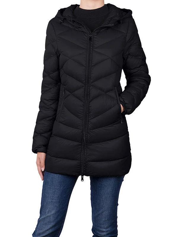 Womens Long Down Jacket Winter Coat Windproof Plus Size Travelling Outwear Puffer Down Coats