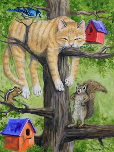 """Daily Paintworks - """"Hiding Out"""" - Original Fine Art for Sale - © Joy Campbell"""