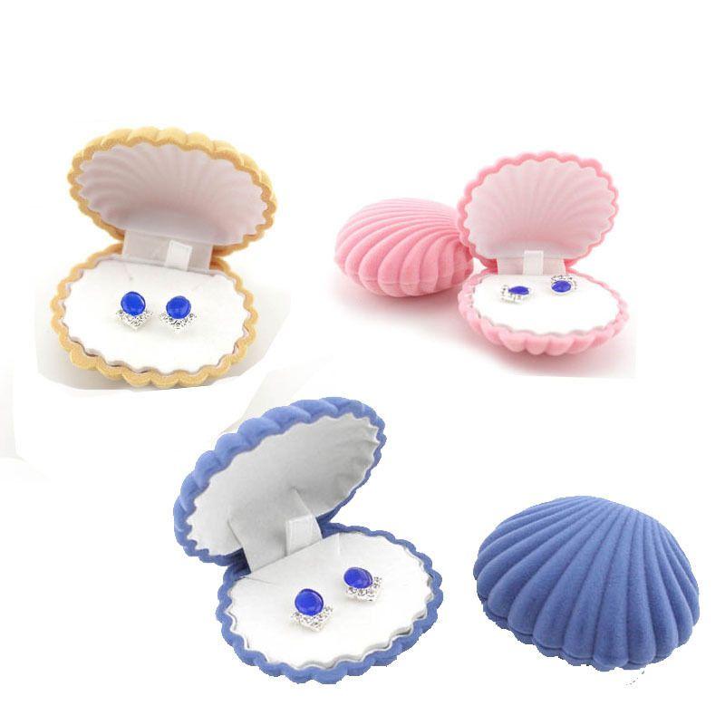 Elegant Scallop Shell Shape Velvet Ring Box Pendant Locket Earrings