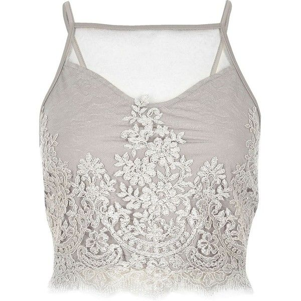 bc95317071 River Island Grey sheer lace crop top ( 15) ❤ liked on Polyvore featuring  tops