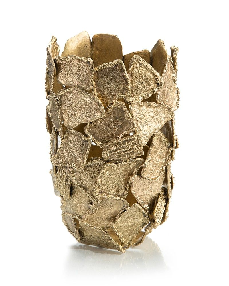 Texture and shape brass vase our products johnrichard x texture and shape collide to make this timeless solid brass vase each piece is hand applied like puzzle pieces from mother nature reviewsmspy