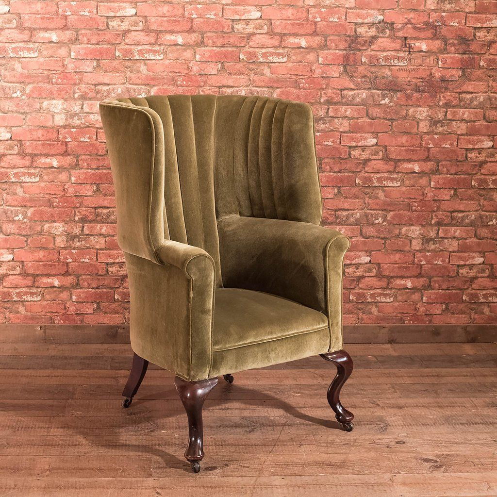 Antique chairs - Victorian Antique Armchair, Scottish Fireside Wing Back Antique
