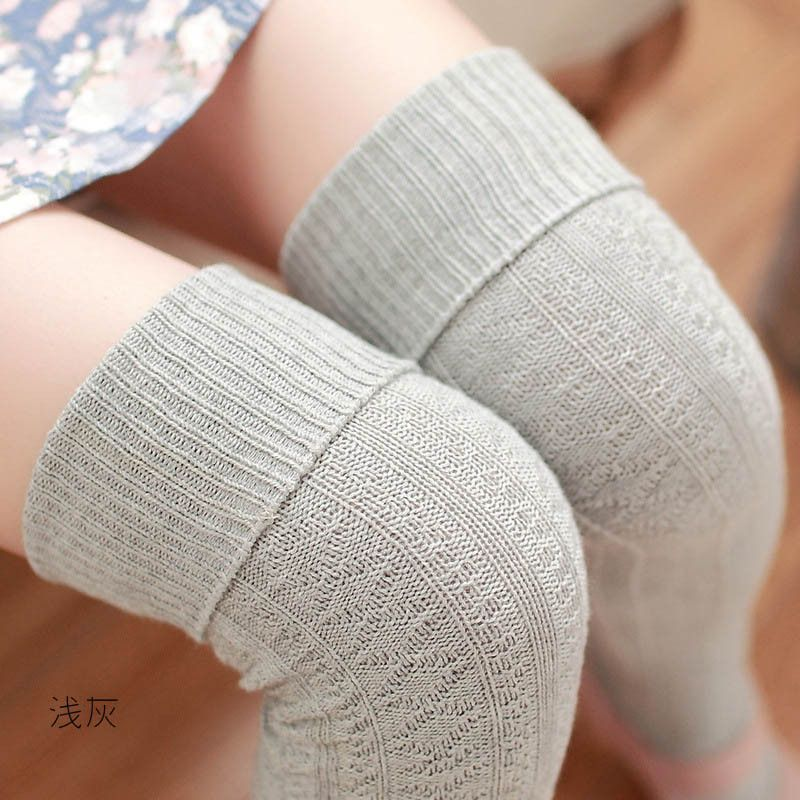 Hot 8 Colors Winter Socks Women High Quality Knitted Stockings Knee Socks Thick Warm Socks Leg Warmers Woman Thigh High Stocking