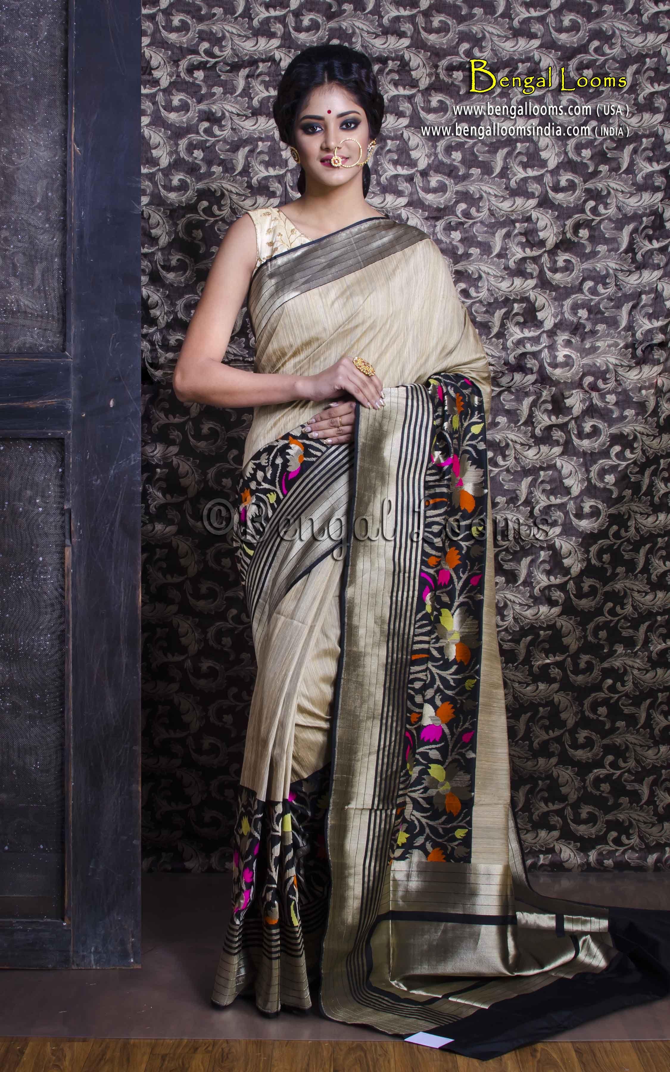 fa44c31ec9 Pure Handloom Tussar Silk Minakari Banarasi Saree in Beige and Black ...