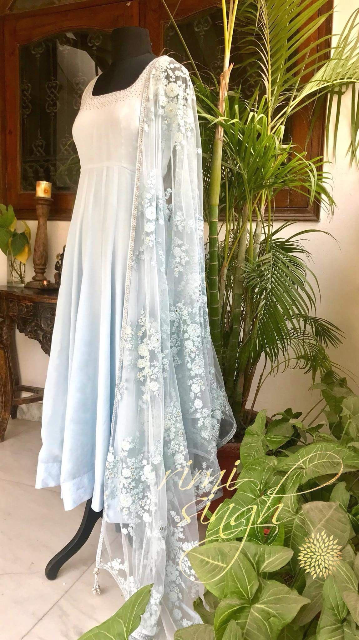 Elegance Is The Only Beauty That Never Fades Powder Blue Crepe Anarkali With 1000 Women Dresses Classy Indian Wedding Outfits Simple Indian Suits [ 2048 x 1148 Pixel ]