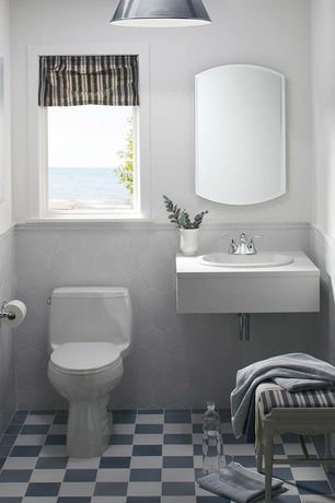 Transitional Powder Room With Jvi Designs 1200 17 M3 1 Light Down Light Pendant Slate Tile Floors Powder Ro Small Bathroom Amazing Bathrooms Bathroom Styling