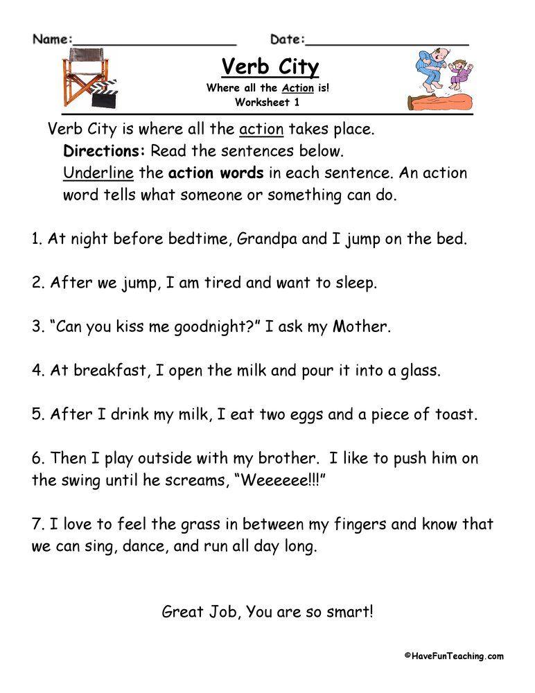 Verbs Worksheets • Have Fun Teaching Verbs Activities, Have Fun Teaching, Grammar  Worksheets