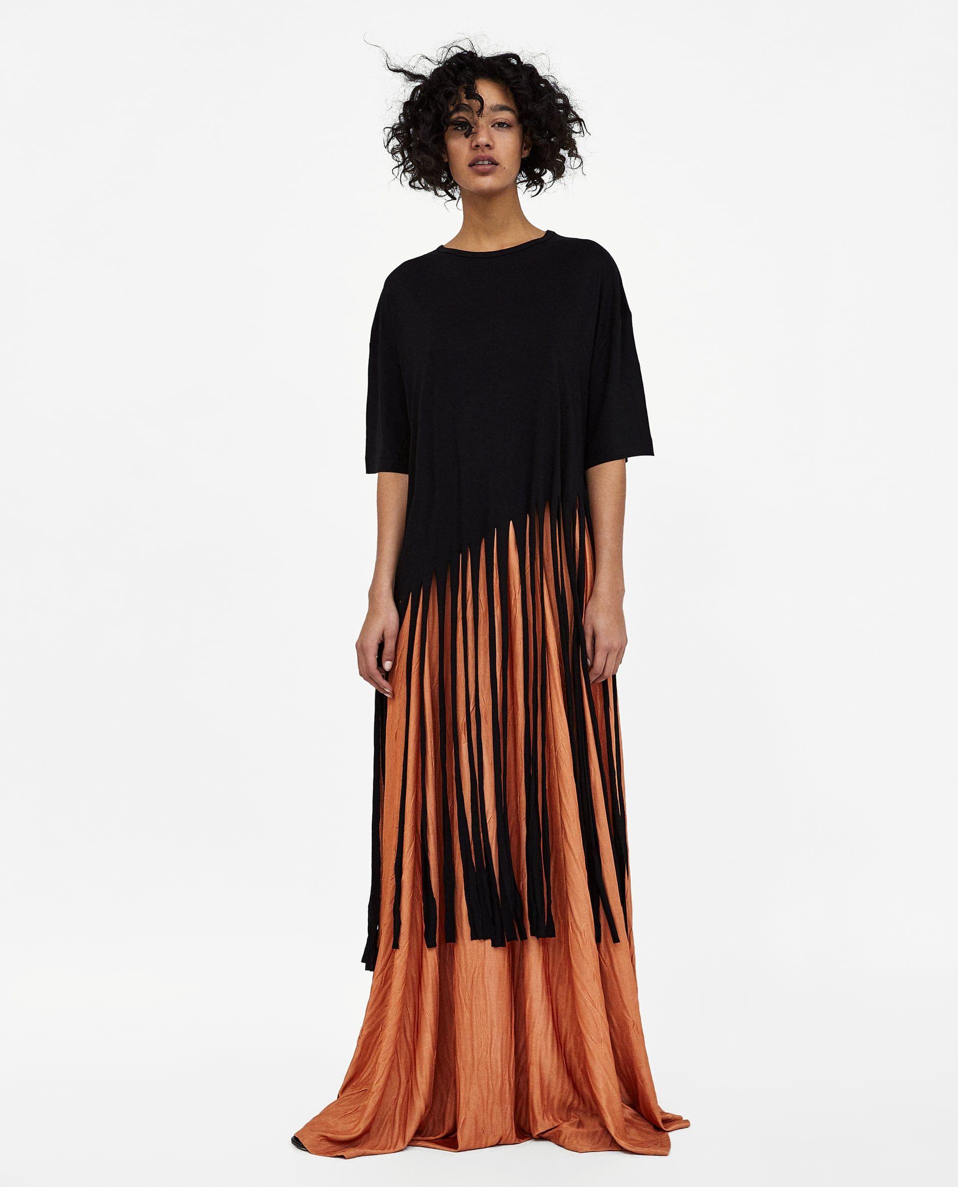 0066db921 MAXI FALDA EFECTO ARRUGADO | Fashion | Shirts, Long fringes, T shirt