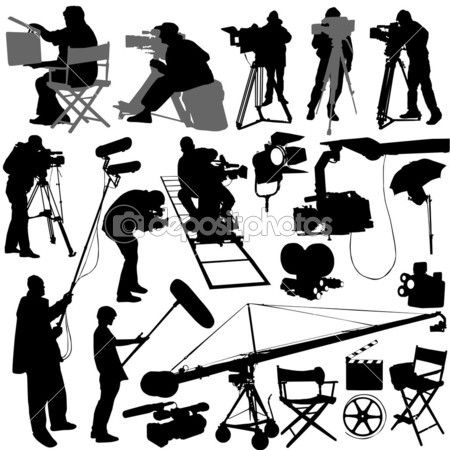 Cameraman And Film Set Accessories Film Set Silhouette Vector Festival Posters