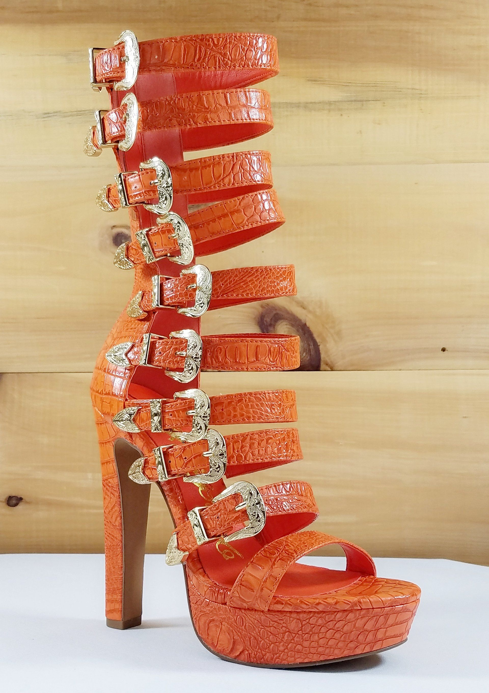 462d682b588 Draco Orange Multi Strap High Heel Platform Shoes - 5.5