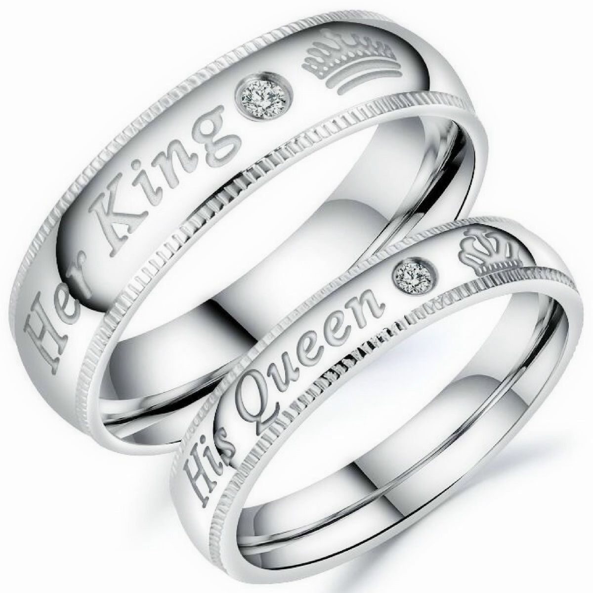 Stainless Steel Wedding Band Set Anniversary Engagement Promise Ring Price Separated King and Queen Rings for Him and Her Wedding Band MY KING MY QUEEN Ring