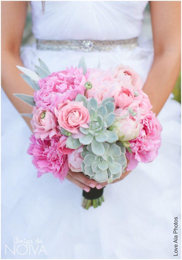 #bouquet #rosa #suculentas #peonias