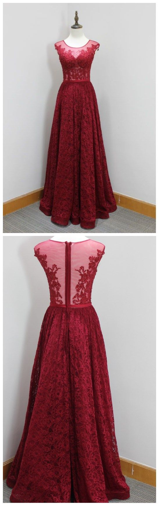 gorgeous red prom dresssleeveless lace evening dressbeading