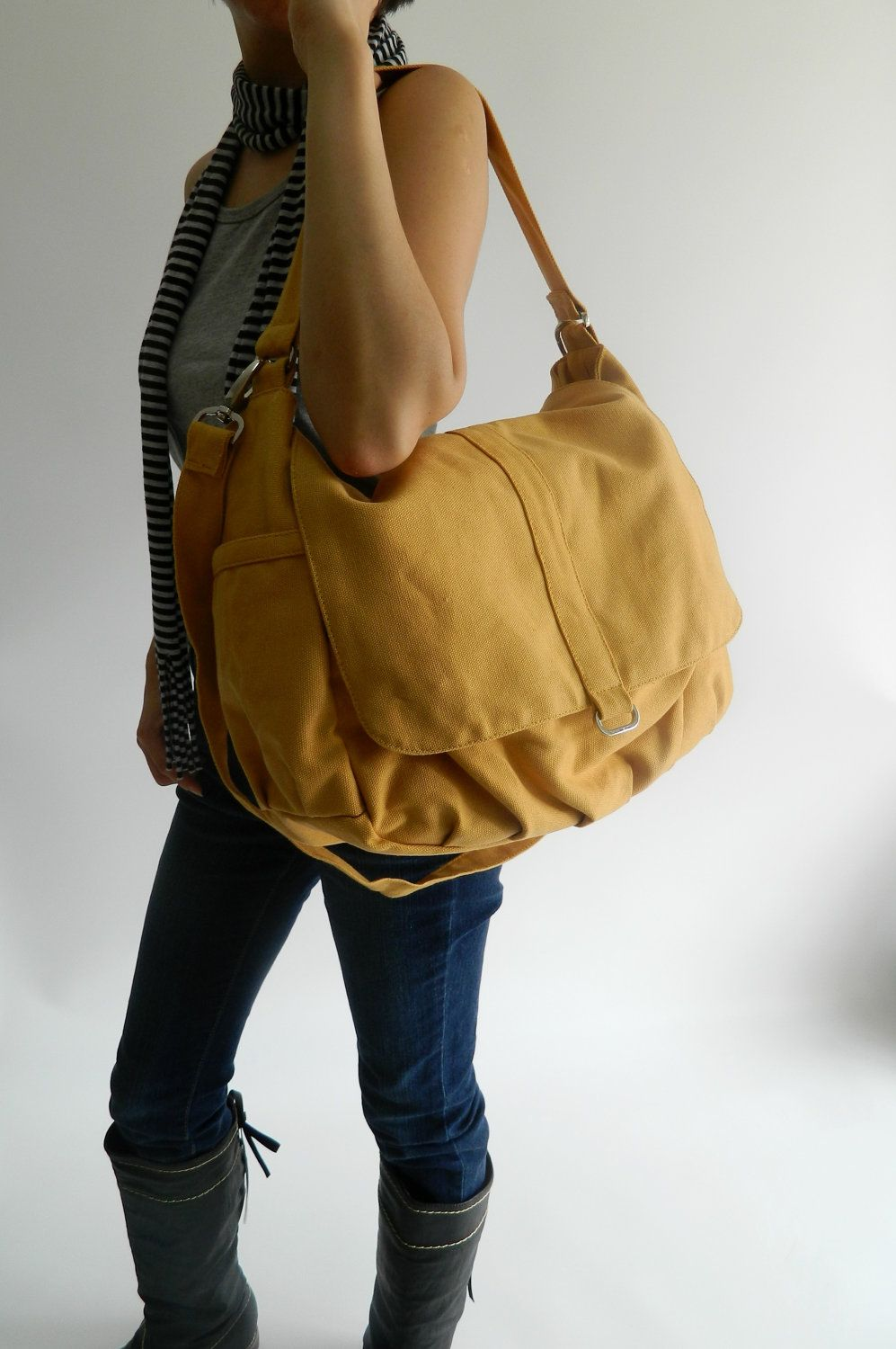 4th ANNIVERSARY 15% SALE - Daniel in mustard - canvas - zipper closure   Shoulder  bag   Cross Body Messenger. 49.00 6a82b01eae974