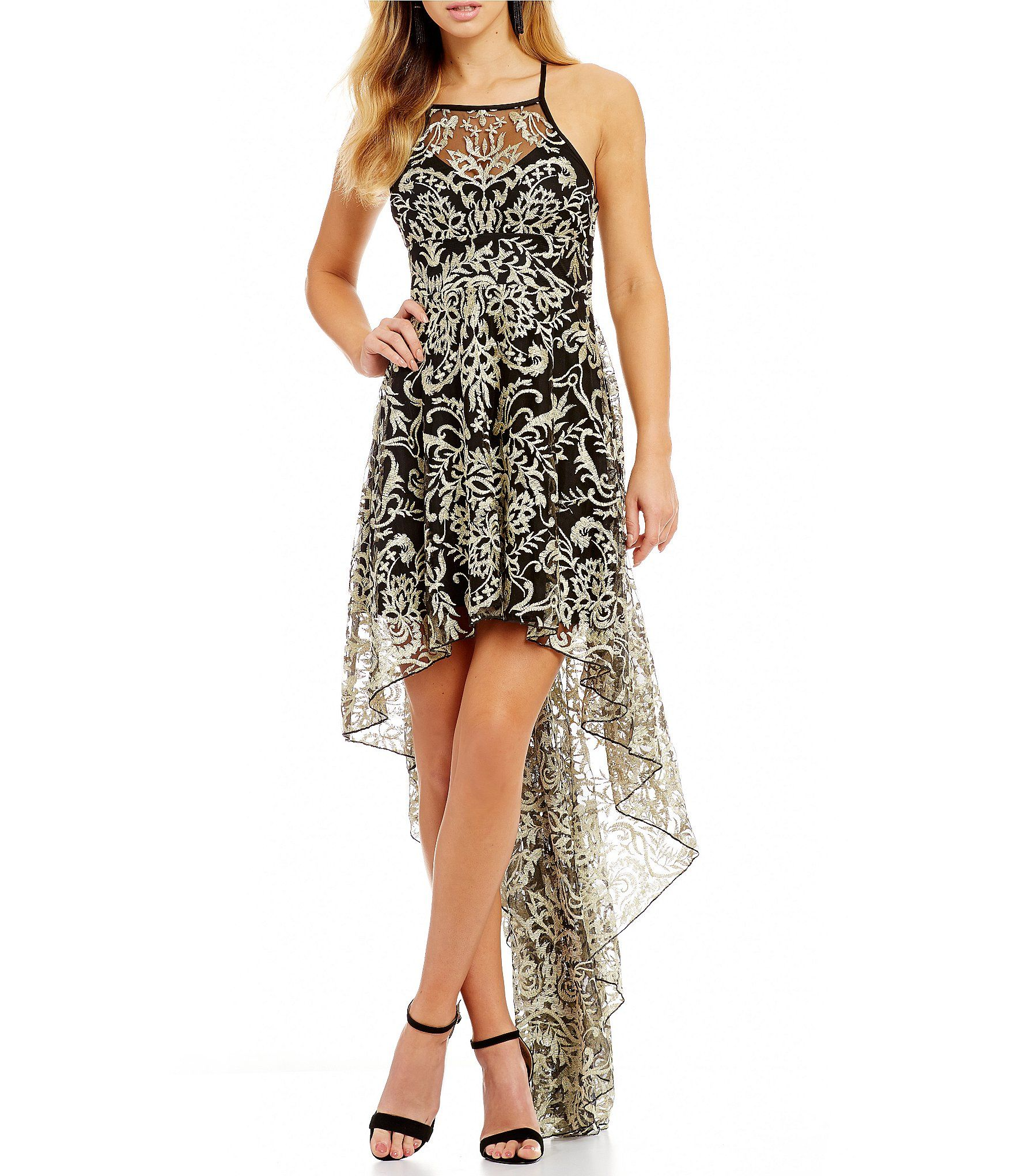 66b3e92a8eef Shop for Xtraordinary Embroidered Metallic Lace High-Low Dress at  Dillards.com. Visit Dillards.com to find clothing, accessories, shoes,  cosmetics & more.