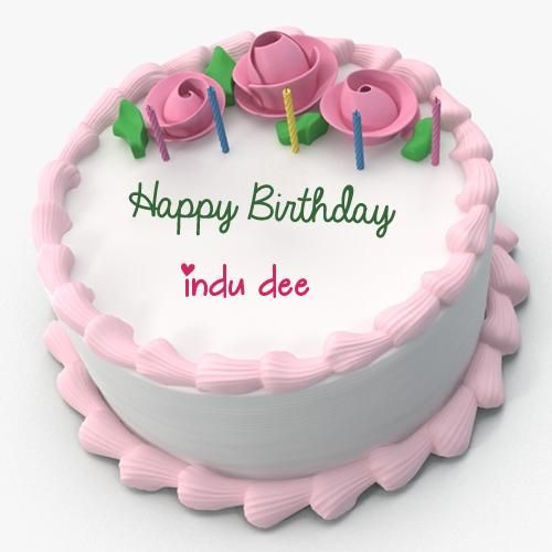 Write Name on Pink Floral Toppins Happy Birthday Cake sahilkirar