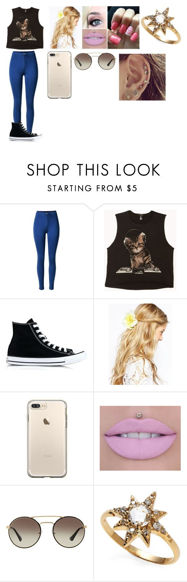 """DJ Cat"" by luana-hemmings ❤ liked on Polyvore featuring Forever 21, Converse, ASOS, Prada and Anzie"