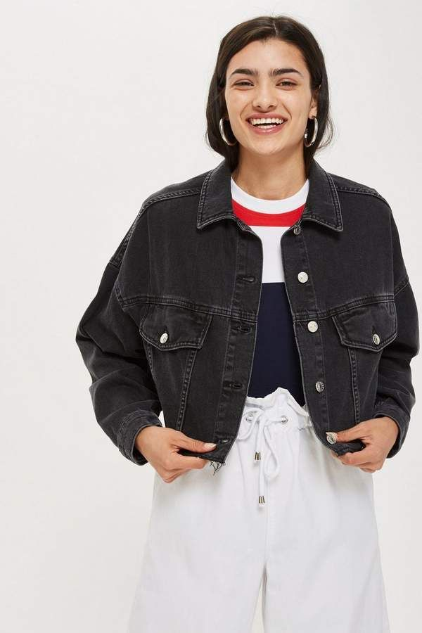 Hacked Off Cropped Denim Jacket In 2020 Cropped Denim Jacket Jackets Denim