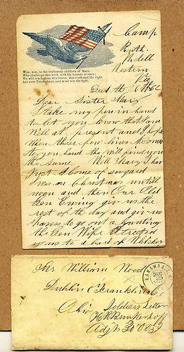 1862 - Carta de um soldado na Guerra Civil Americana.