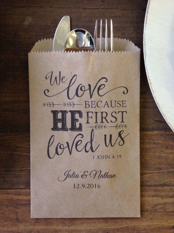 Christian Wedding Favor Utensil Or Bread Favor Bags Customized