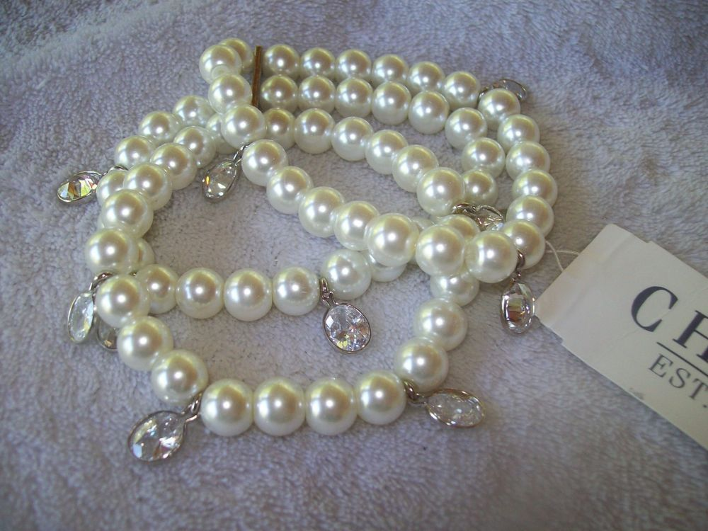 Beautiful CHAPS Multi Strands Faux Pearls Stretch Bracelet with Crystals #Chaps