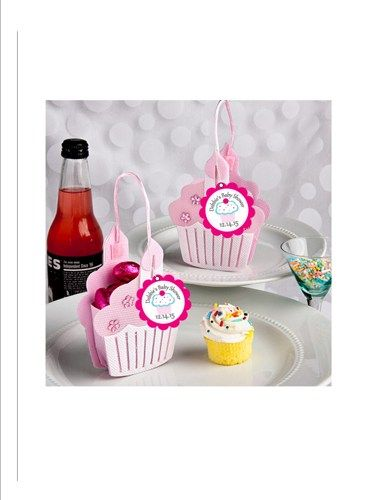 Cupcake Favor Treat totes - with personalized favor tag - first birthday party, baby girl shower - set of 12