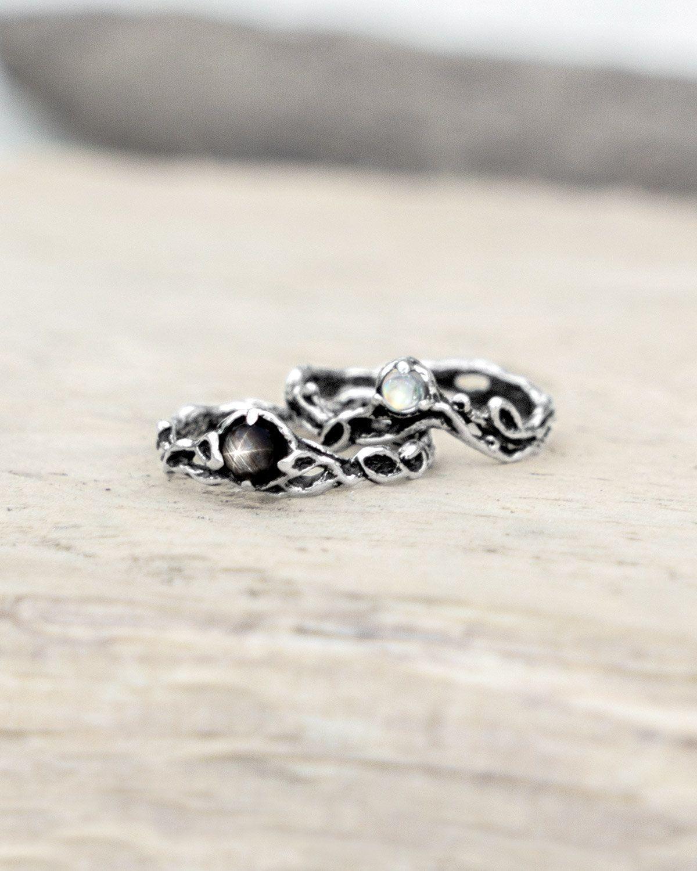 Set of ayulasmi moonstone engagement ring black star sapphire
