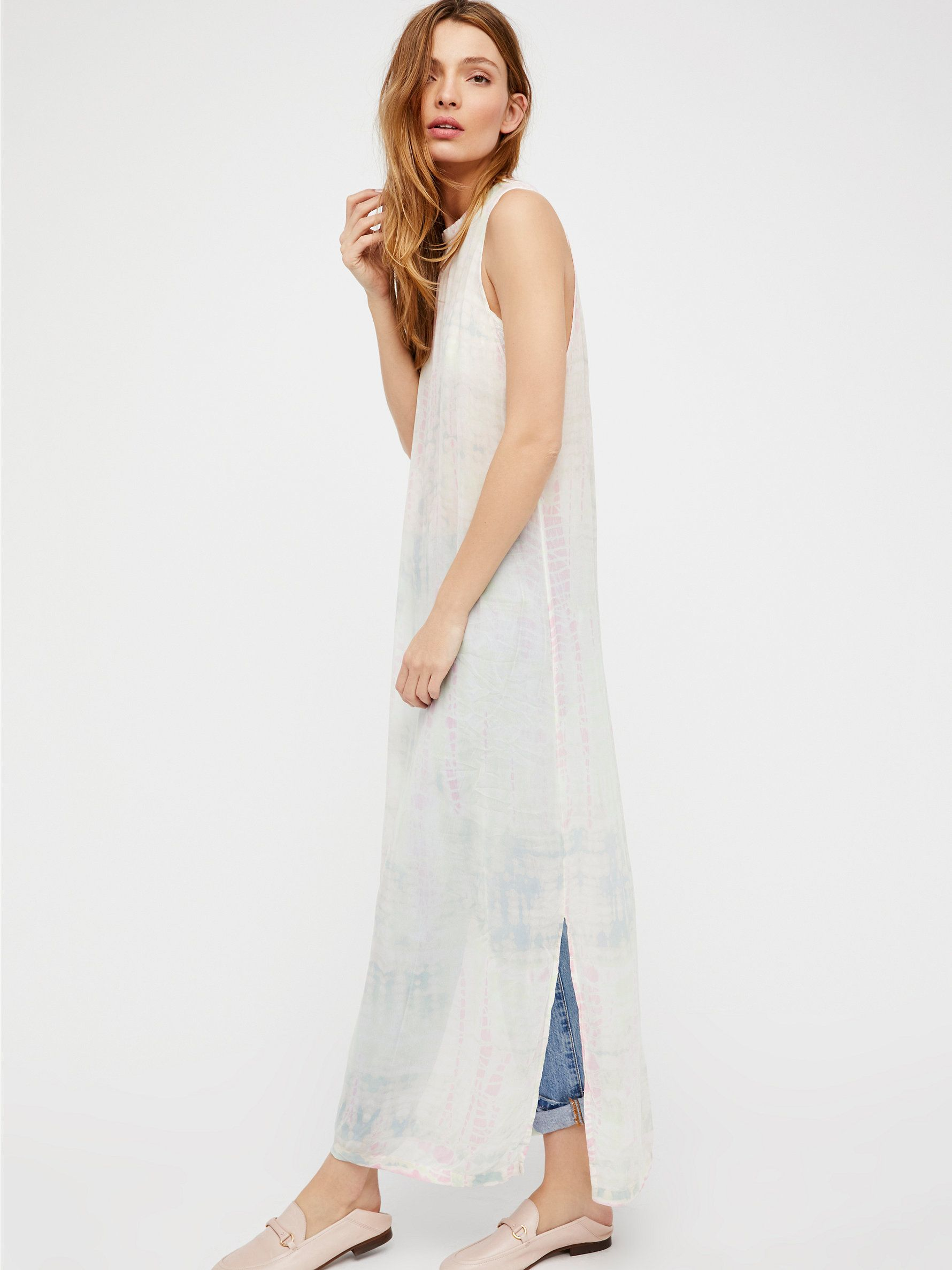 Dad's Shirt Dress | American made sheer tie-dye maxi dress featuring dropped armholes and side slits.     * Flowy silhouette.