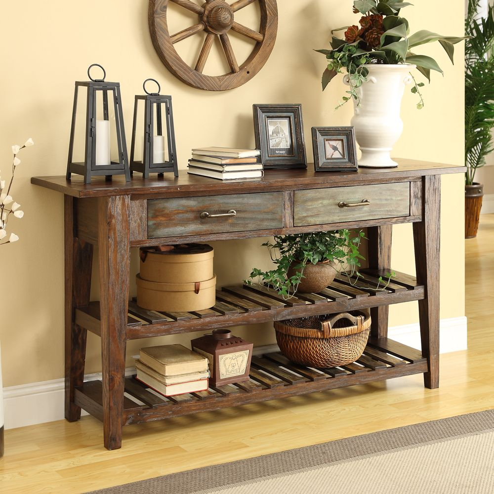 Coast To Coast 2 Drw Console Colored Slats Ashley Home 428  # Console Colore Ameublement