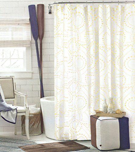 Tommy Hilfiger California Dot Cotton Shower Curtain Yellow Polka