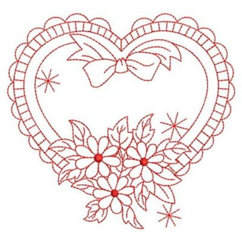 Wind Bell Embroidery Embroidery Design: Redwork Floral Heart 3.80 inches H x 3.59 inches W