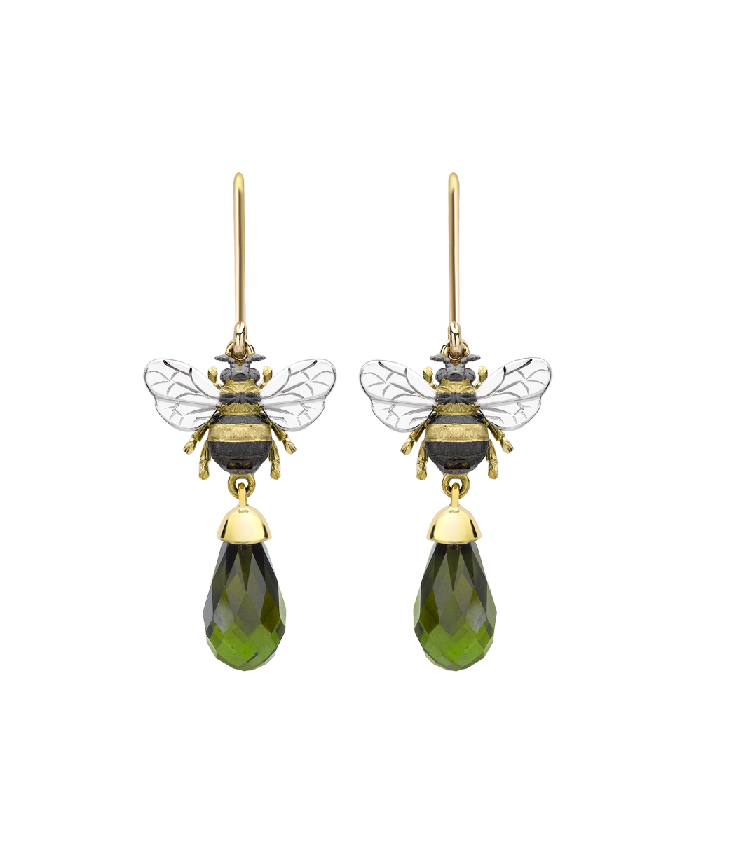 Theo Fennell - contemporary green tourmaline bee drop earrings.  Green Tourmaline Bee Drop Earrings.   Symbol of happy industry and maker of honey;   Their buzz is the harbinger of a lazy summer's day, yet they are so industrious. What's not to like about the bee?
