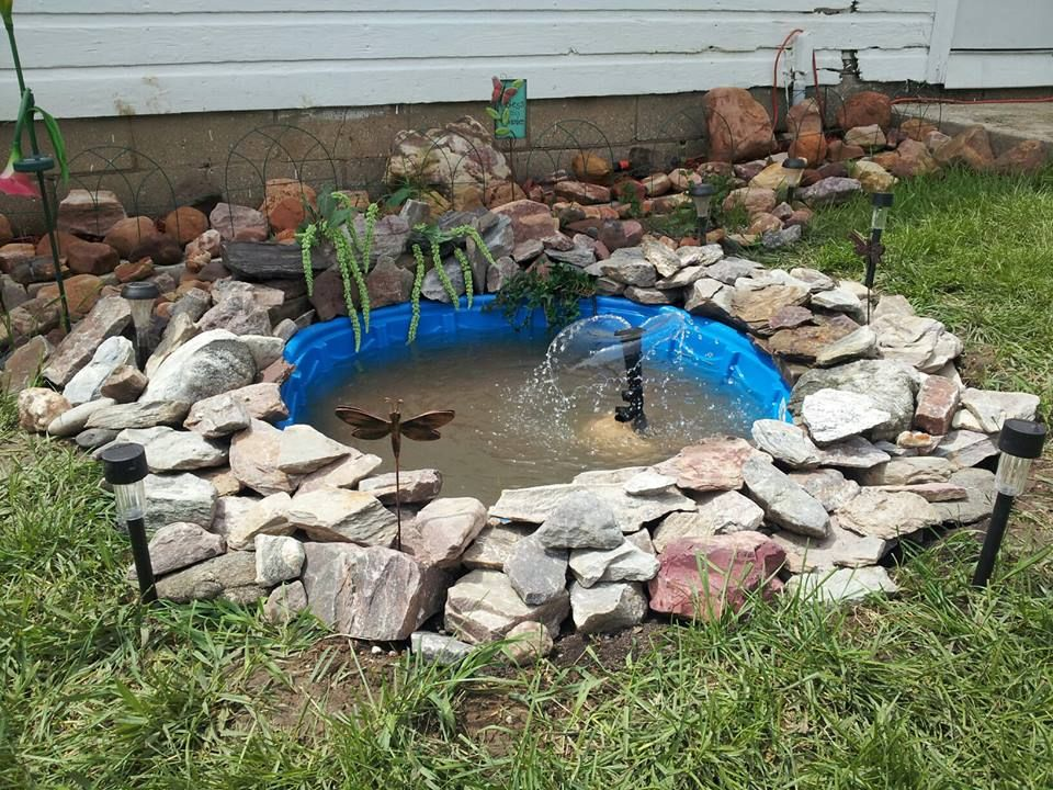 Home Made Pond For Our Little Back Yard All You Need Is A Kiddy Pool And Some Pretty Rocks Ponds Backyard Waterfalls Backyard Backyard