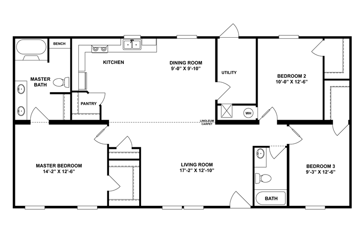 The Ethridge Floor Plan 3 Bed 2 Baths 1369 Sq Ft Starting Price 56 800 Modular Homes House Plans Modular Homes For Sale