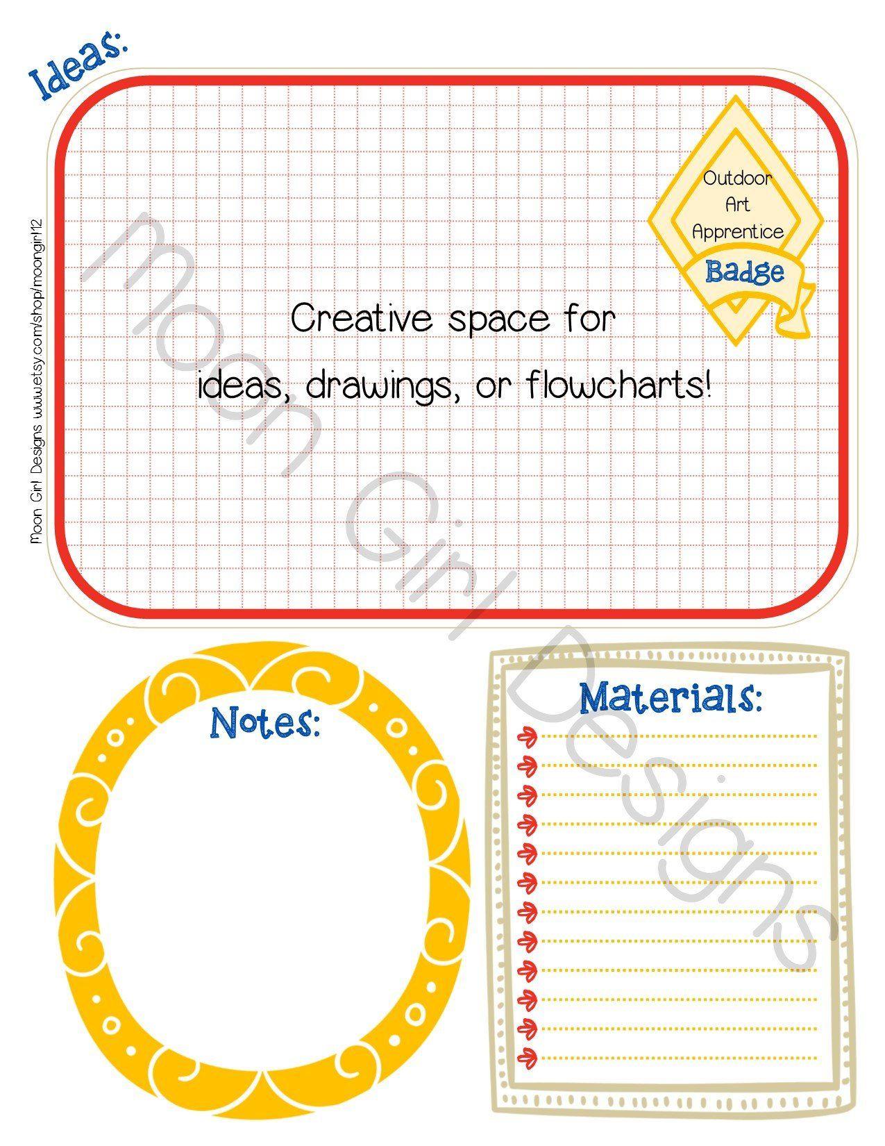 Cadette Badge Planner Girl Scout Leader Editable Printable